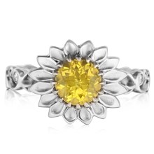 Daisy Delicate Leaf Engagement Ring With Yellow Sapphire - top view
