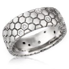 Honeycomb With Diamonds Wedding Band