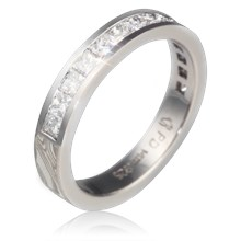 Princess Channel Mokume Wedding Band - top view