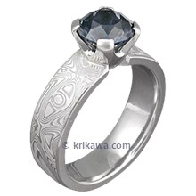 Mokume Solitaire Straight with Tapered Head and Blue Sapphire