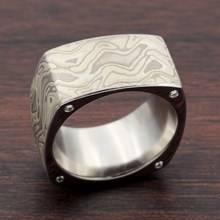 Square Winter Mokume Wedding Band With Diamonds