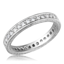 Hand Engraved Diamond Wedding Band - top view