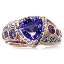 Mokume Galaxy Kiss Engagement Ring - top view