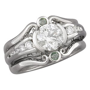 Carved Curls Engagement Ring with Green Diamond Enhancer