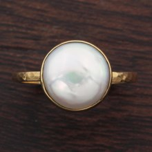 Coin Pearl Ring - top view