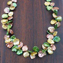 Colorful Cornflake Pearl Necklace - top view