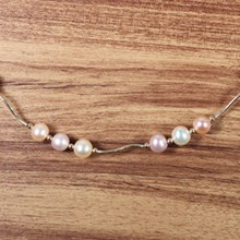 Small Coin Pearl Station Necklace