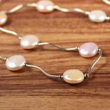 Pastel Coin Pearl Station Necklace