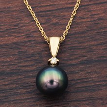 Black Pearl And Diamond Necklace - top view