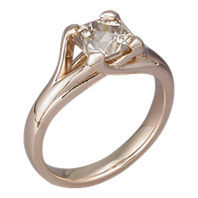 Carved Wing Engagement Ring with Champagne Diamond and Rose Gold