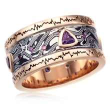 Wave Form Mokume Wedding Band