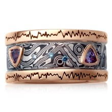 Wave Form Mokume Wedding Band - top view