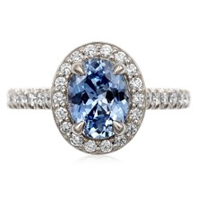 Oval Halo Diamond Engagement Ring - top view