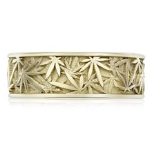 Pot Leaf Wedding Band - top view
