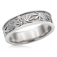 Pot Leaf Wedding Band