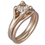 Carved Wing Engagement Ring with Champagne Diamond and Rose Gold Liner Bridal Set