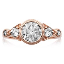 Vintage Three Stone Deco Engagement Ring - top view