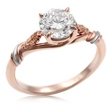 Twisted Leaf Solitaire Engagement Ring