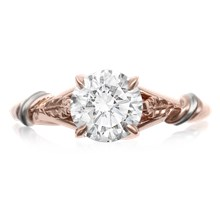 Twisted Leaf Solitaire Engagement Ring - top view
