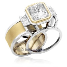 Wide Deco Three Stone Scaffolding Engagement Ring With Moissanite