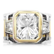 Wide Deco Three Stone Scaffolding Engagement Ring With Moissanite - top view