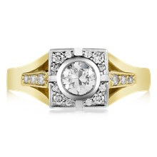 Deco Halo Engagement Ring - top view
