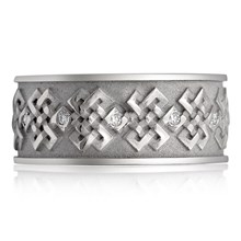 Tibetan Knot Eternity Band With Diamonds - top view
