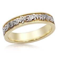 Two Tone Narrow Oak Leaf Wedding Band