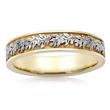 Two Tone Narrow Oak Leaf Wedding Band - top view