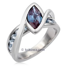 River Twist Engagement Ring With Alexandrite And Spinel