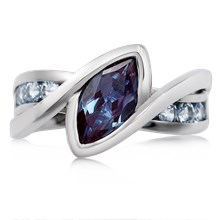 River Twist Engagement Ring With Alexandrite And Spinel - top view