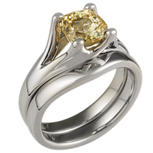 Carved Wing Engagement Ring with Yellow Diamond Bridal Set