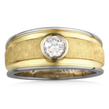 Crosshatched Men's Diamond Ring - top view