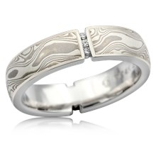 Vertical Floating Diamond Mokume Wedding Band