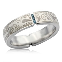 Vertical Floating Diamond Mokume Wedding Band - top view