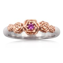 Five Rose Engagement Ring - top view
