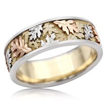 Tricolor Oak Leaf Wedding Band