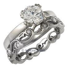 Carved Leaf Engagement Ring with Delicate Leaf Diamond Band