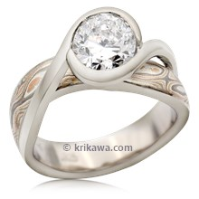 Mokume River Twist Engagement Ring With Oval Diamond