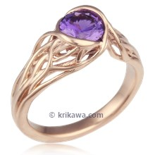 Embracing Tree Branch Bezel Engagement Ring With Purple Sapphire