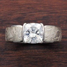 Mokume Solitaire Tapered Engagement Ring With Cushion Cut Moissanite - top view