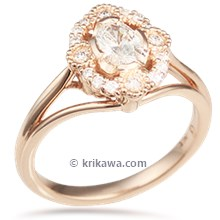 Vintage Scalloped Halo Engagement Ring In 14K Yellow Gold