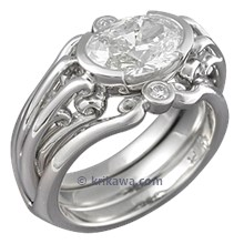 Carved Curls Engagement Ring with Oval Diamond and Enhancer