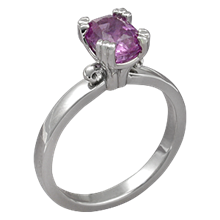 Carved Leaf Engagement Ring with Pink Sapphire