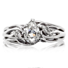 Diamond Leaf Tree Branch Engagement Ring - top view