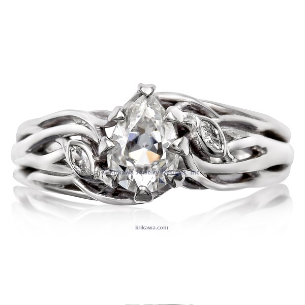 Diamond Leaf Tree Branch Engagement Ring