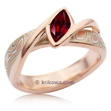 Mokume River Twist Engagement Ring With Ruby