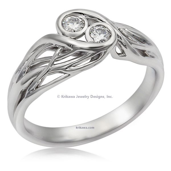 Two Stone Tree Branch Engagement Ring