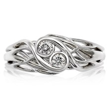 Two Stone Tree Branch Engagement Ring - top view