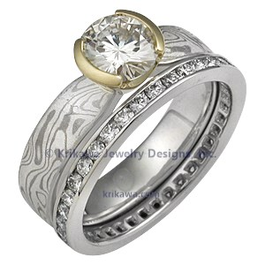 Mokume Solitaire Tapered Engagement Ring with Gold Head Bridal Set